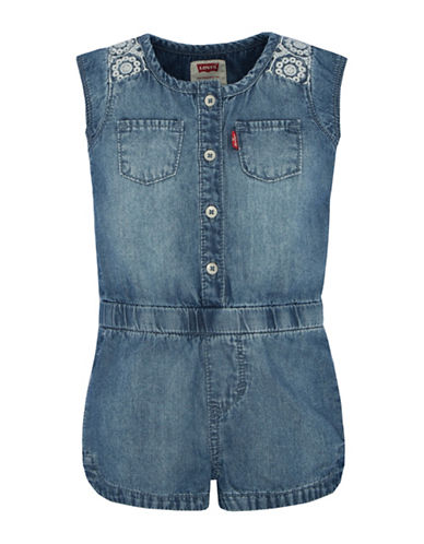 Levi'S Button-Front Denim Romper-BLUE-12 Months