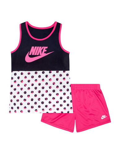 Nike Futura Mesh Two-Piece Tank Top and Shorts Set-PINK-18 Months