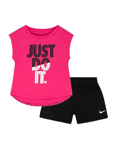 Nike Two-Piece Just Do It Tee and Shorts Set-BLACK-12 Months 88979408_BLACK_12 Months