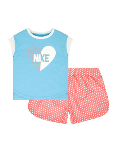 Nike Two-Piece Heart Tee and Printed Shorts Set-BLUE-12 Months