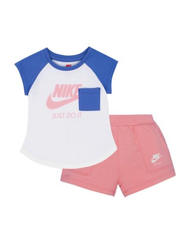 Nike French Terry Two-Piece Tee and Shorts Set-PINK-12 Months