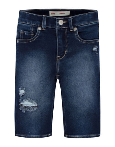 LeviS Distressed Bermuda Shorts-BLUE-5