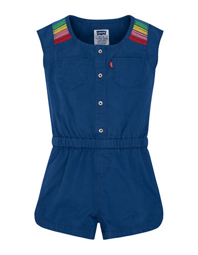 LeviS Embroidered Denim Romper-BLUE-Medium