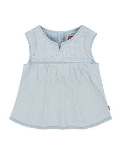 LeviS Embroidered Yoke Peasant Top-BLUE-12 Months