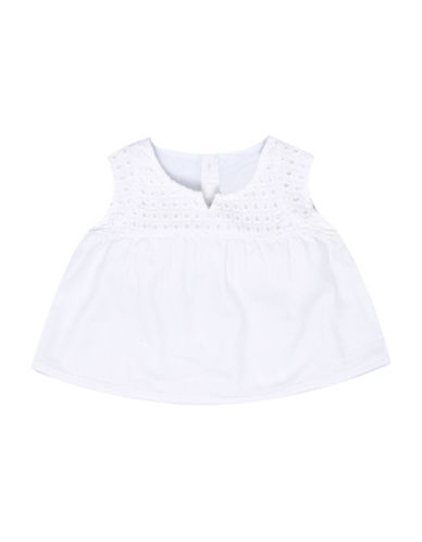LeviS Embroidered Yoke Peasant Top-WHITE-18 Months