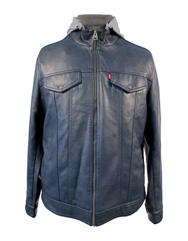Levi'S Faux Leather Trucker Jacket-BLUE-Small 89068697_BLUE_Small