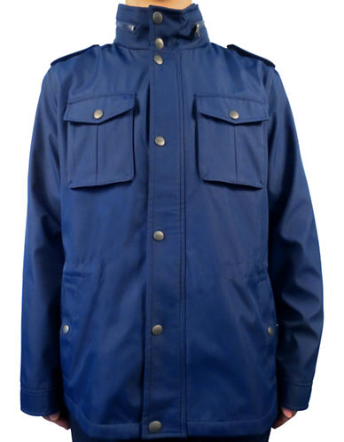 Dockers Bonded Soft Shell Hooded Jacket-NAVY-Small