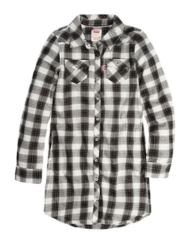 LeviS Plaid Collared Dress-GREY-4