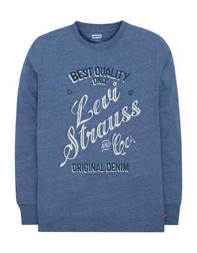 LeviS Long Sleeve Graphic Tee-BLUE-6