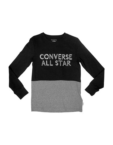 Converse Static Heather Silicon Cotton Tee-BLACK-4
