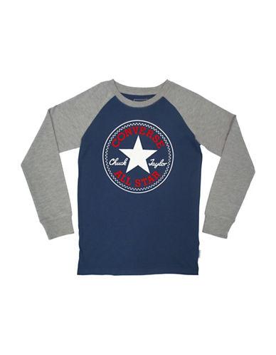 Converse Chuck Patch Cotton T-Shirt-BLUE-Large
