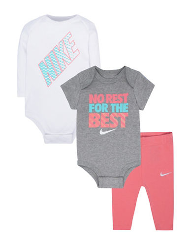 Nike Three-Piece Bodysuit Set-PINK-6-9 Months