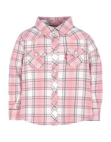LeviS Plaid Western Top-PINK-18 Months