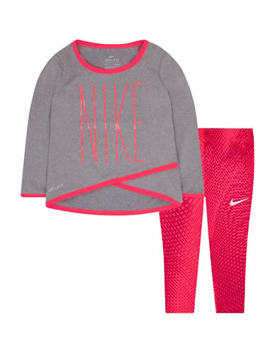 Nike Two-Piece Tunic and Leggings Set-PINK-12 Months