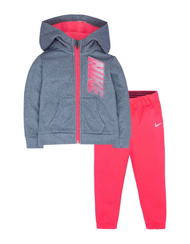 Nike Two-Piece Hoodie and Pants Set-PINK-2
