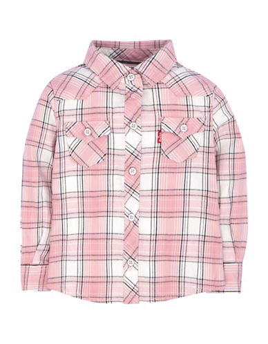 LeviS Western Plaid Top-PINK-6X
