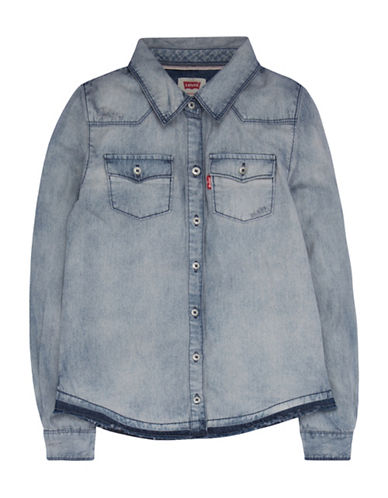 LeviS Western Denim Sport Shirt-GREY-Large