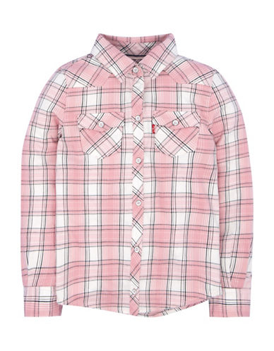 LeviS Plaid Western Collared Shirt-PINK-Small