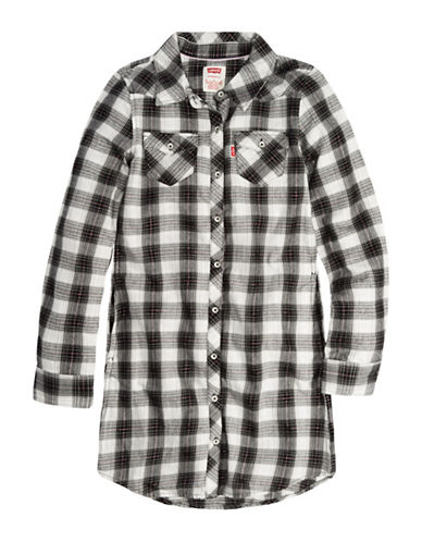 LeviS Plaid Western Buttoned Dress-GREY-Small