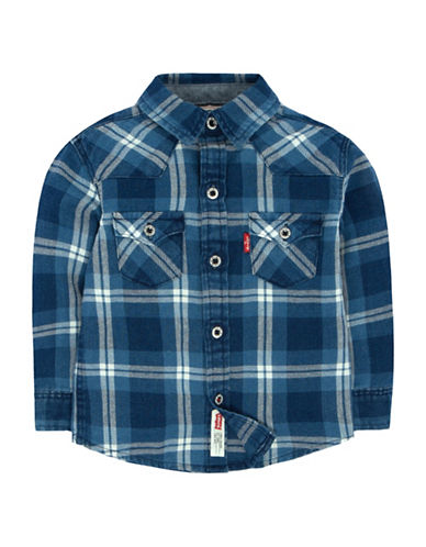 LeviS Barstow Western Plaid Shirt-DARK BLUE-12 Months