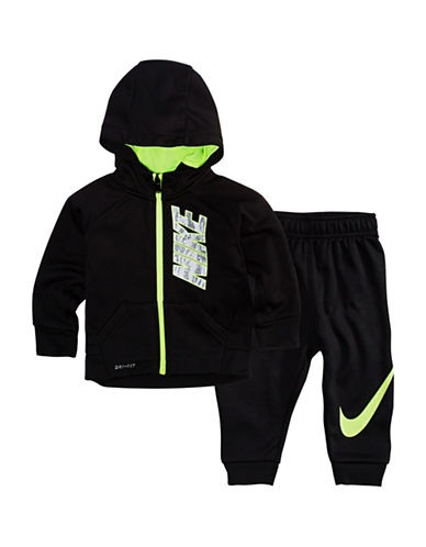 Nike Babys Two-Piece Logo Jacket and Pants Set-BLACK-12 Months