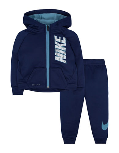 Nike Hoodie and Sweatpants Therma Fit Set-BLUE-2T