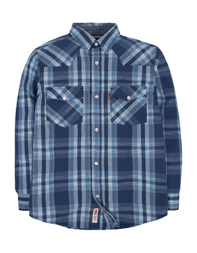 LeviS Barstow Western Plaid Shirt-BLUE-Large