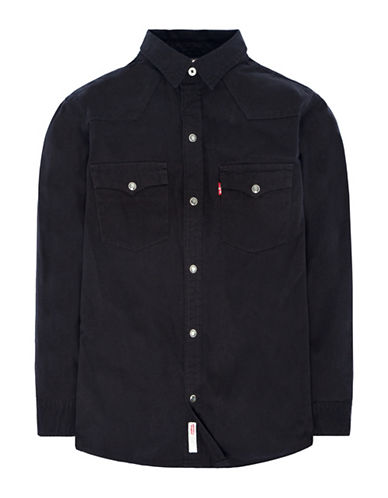 LeviS Barstow Western Cotton Sport Shirt-BLACK-4