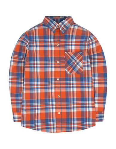 LeviS Plaid Flannel Collared Shirt-RED-2
