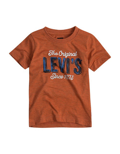 LeviS Bear Printed Cotton Tee-RED-5