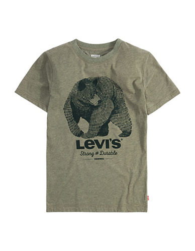 LeviS Flag Logo Graphic Combed Jersey Tee-OLIVE-Large