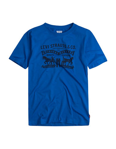 LeviS Flag Logo Graphic Combed Jersey Tee-BLUE-X-Large