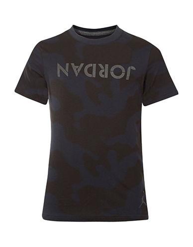Jordan Screen Printed Cotton T-Shirt-BLACK-Medium 89438962_BLACK_Medium