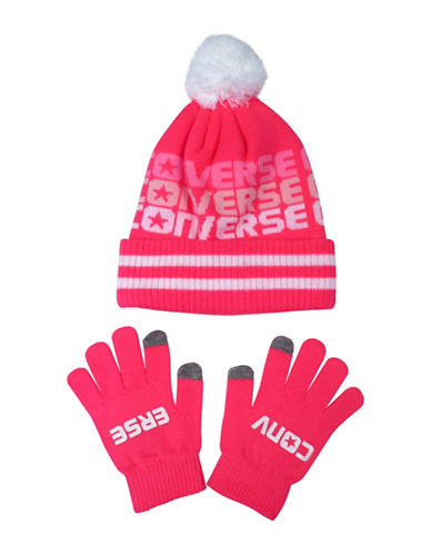 Converse Fader Beanie and Gloves Set-PINK-4-7