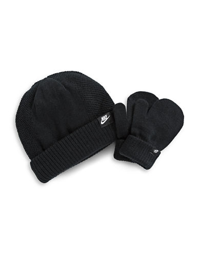 Nike Two-Piece Logo Beanie and Mittens Set-BLACK-2-4