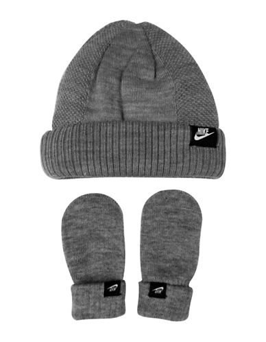 Nike Two-Piece Logo Beanie and Mittens Set-GREY-2-4