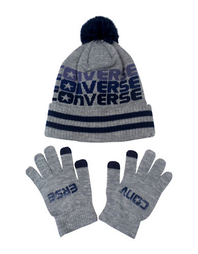 Converse Fader Beanie and Gloves Set-GREY-4-6