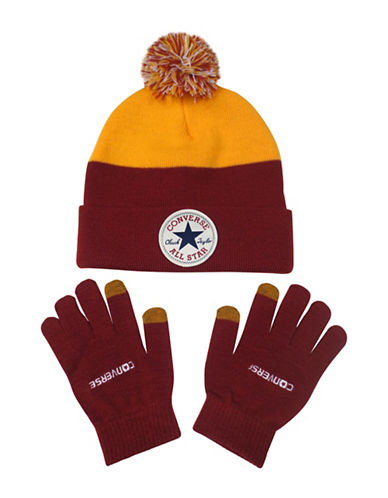 Converse Two Piece Colour-Block Beanie Set-RED-4-6