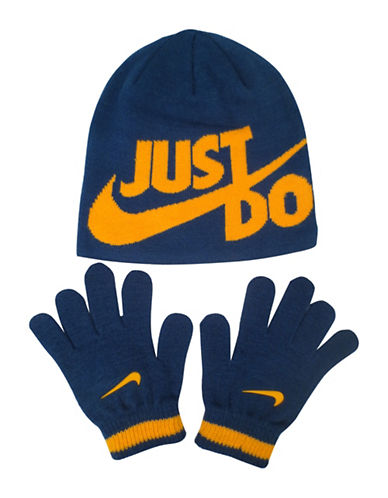 Nike Two-Piece Logo Beanie and Gloves Set-BLUE-8-18