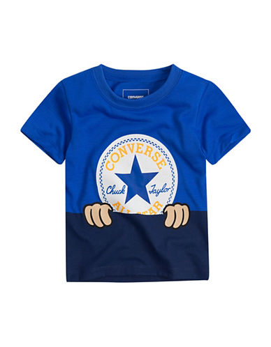 Converse Peeping Chuck Patch Cotton Tee-BLUE-4T