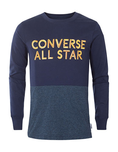 Converse Static Heather Silicon Cotton Tee-NAVY-Large