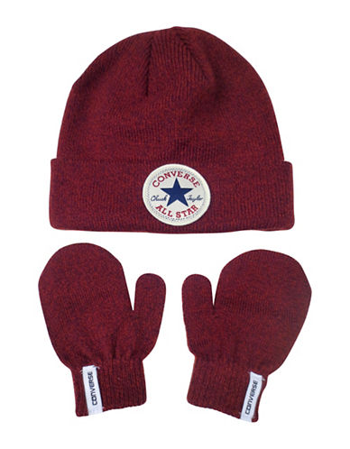 Converse Fisherman Beanie and Mittens Set-RED-2-6