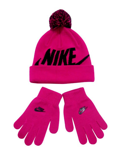 Nike Knitted Beanie and Mittens Set-PINK-Small