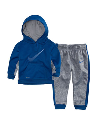 Nike Two-Piece Therma-Fit Hoodie and Joggers Set-BLUE-2T