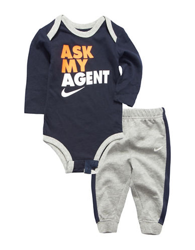Nike Two-Piece Interlock Bodysuit and Pants Set-GREY-6-9 Months