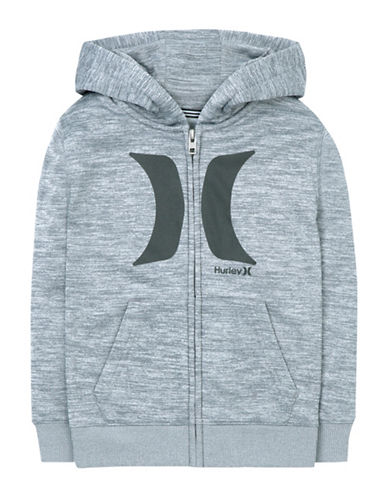 Hurley Therma-Fit Zip-Front Hoodie-GREY-Small