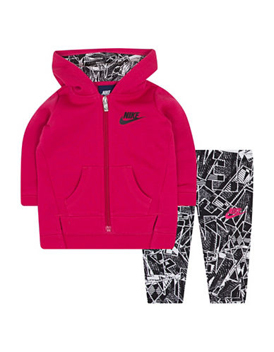 Nike Two-Piece Zippered Jacket and Printed Leggings Set-BLACK-12 Months