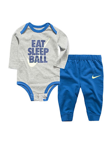 Nike Two-Piece Interlock Bodysuit and Pants Set-BLUE-3-6 Months