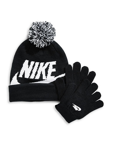Nike Logo Beanie and Gloves Set-BLACK-4-6