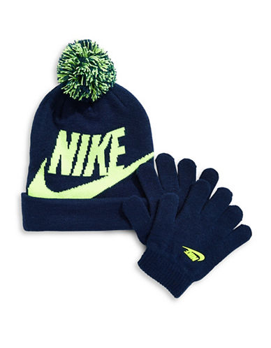 Nike Logo Beanie and Gloves Set-BLUE-8-18